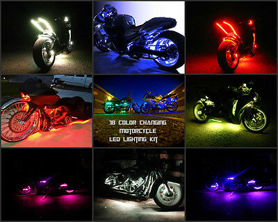 8pc 18 Color 5050 SMD RGB Led Vulcan 1500 Motorcycle Led Neon Strip Light Kit