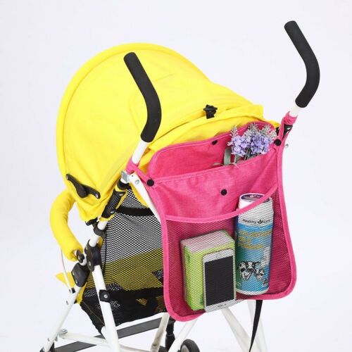 Baby Stroller Organiser Bag Grey Cup Holder Carriage Pram Storage Bottle buggy