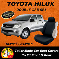 Canvas Car Seat Covers Black Toyota Hilux Sr5 Double Cab 2009-2015 Airbag Safe