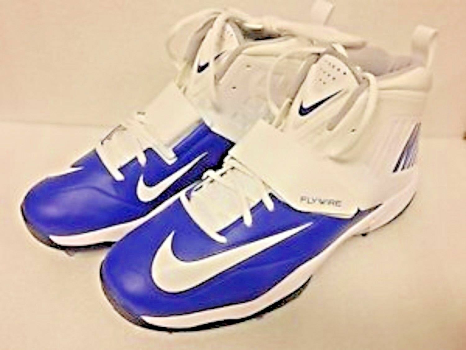 Nike Flywire Men's Lineman 3/4 TD White Blue Football Cleats Comfortable