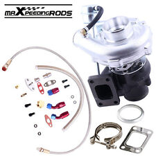 T3 T4 T40E 0.63A/R Turbo Charger with Oil Drain Return FEED Line Kits