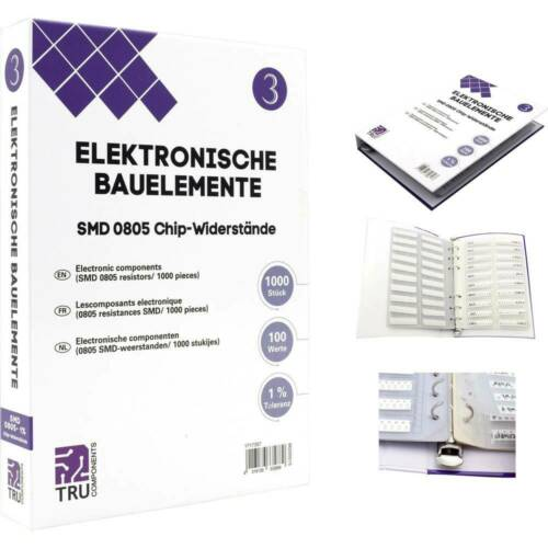 TRU COMPONENTS TC-6869428 Sortiments-Album SMD 0805 0.125 W 1 /% 1000 Teile