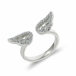 Silver CZ Crystal Angel Wings Open Rings Girl Wedding Ring Adjustable Women Gift