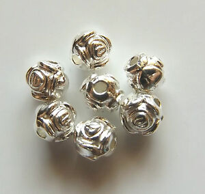 100pcs-6mm-Metal-Alloy-Round-Rose-Spacer-Beads-Bright-Silver