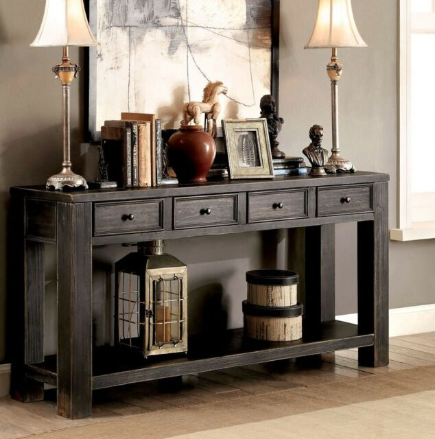 Sofa Table Farmhouse Drawers Wooden