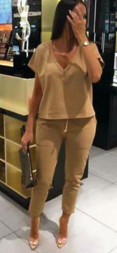 Ladies V Neck Loungewear 2 Pc Jogsuit Womens Short Sleeve Tracksuit New 8-14