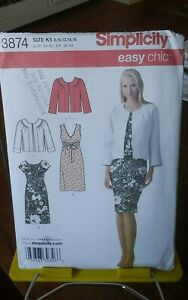 Oop-Easy-Chic-Simplicity-3874-misses-summer-dress-jacket-empire-sz-8-16-NEW