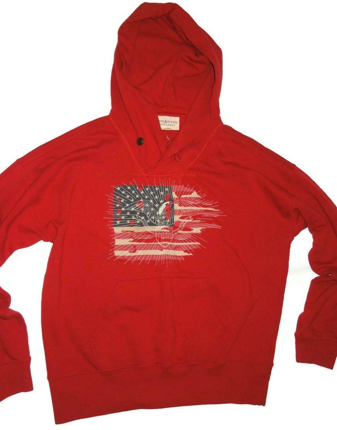Ralph Lauren denim & Supply Red Flag Eagle shawl collar Hoodie  XL retail