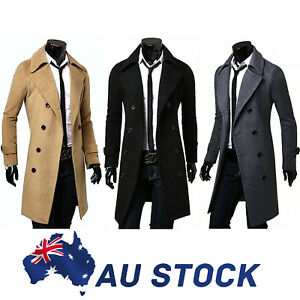 AU-Men-039-s-Gent-Slim-Fit-Double-Breasted-Long-Overcoat-Trench-Coat-Jacket-Outwear