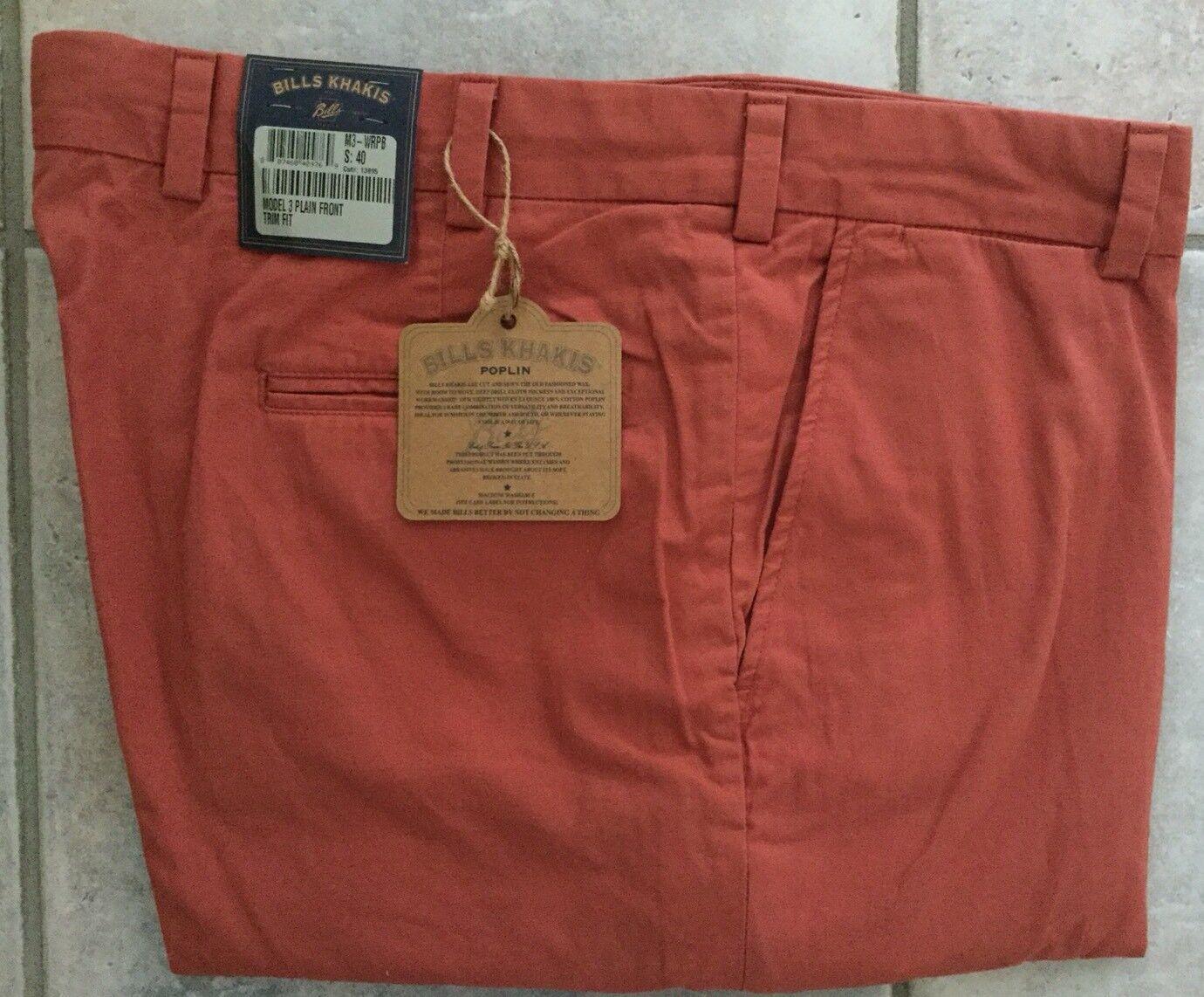 BRAND NEW-Bills khakis M3-WRPB Size 31 PLAIN TRIM WEATHERED RED POPLIN