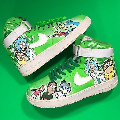 official photos large discount cost charm Rick And Morty Air Force One Highs Size 11 (GLOW IN THE DARK) | eBay