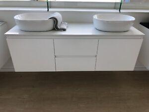 Bathroom Vanity Unit Wall Hung Cabinet Stone Top 1500mm ...