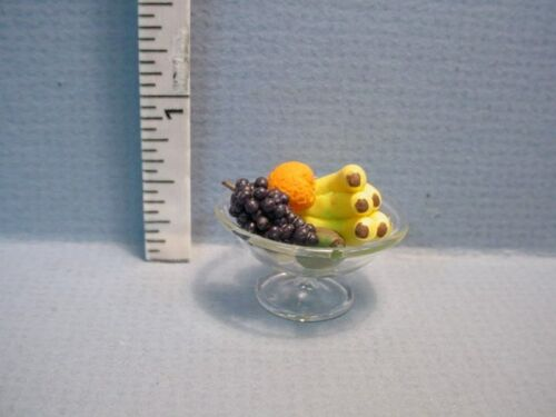 Dollhouse Miniature Fruit in CLear Glass Bowl #30