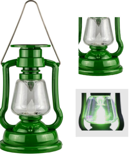 Plastic Solar Led Hurricane Lantern Light Paraffin Lamp Camping Flashlight Green