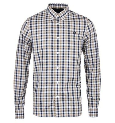 M6396-122 Port Fred Perry Men/'s Magnified Gingham Long Sleeve Shirt