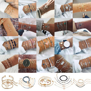 Women-Rope-Natural-Stone-Crystal-Chain-Alloy-Bracelets-Set-Fashion-Jewelry-Gift