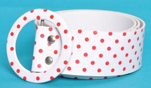 Polka Dots Gürtel allover mit roten Dots Punkte Belt Rockabilly
