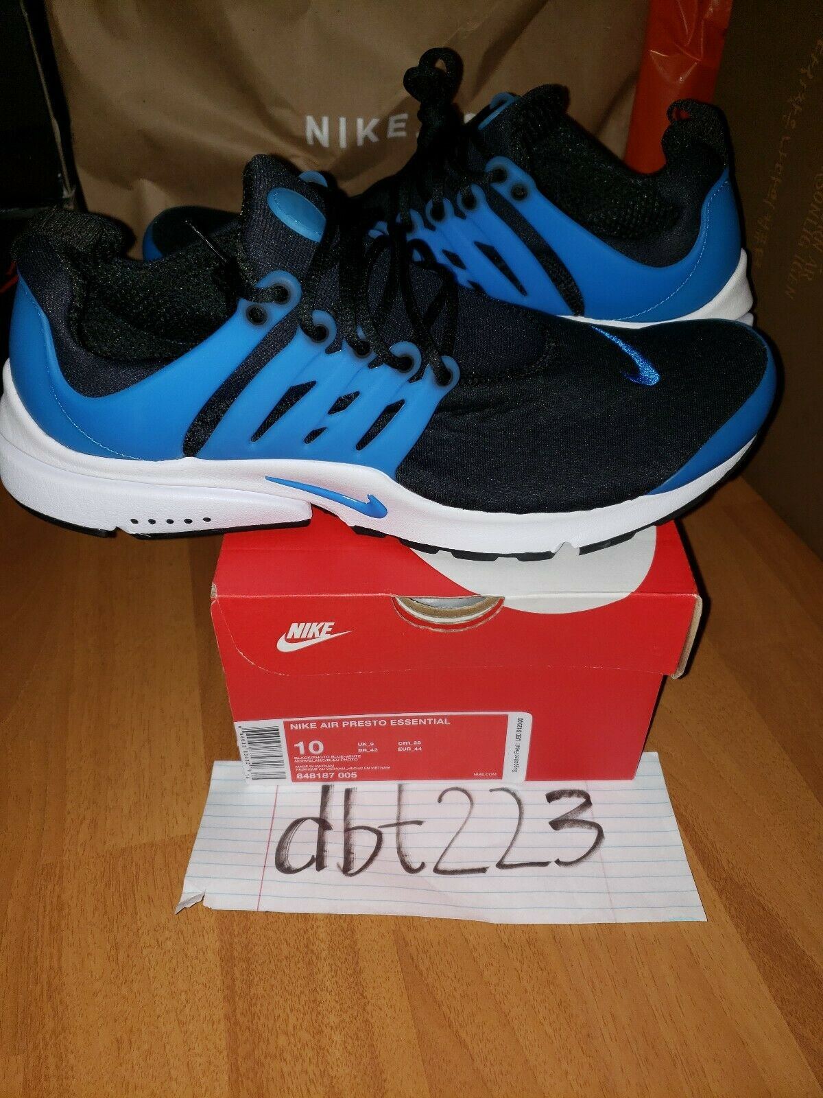 BRAND NEW AIR PRESTO ESSENTIAL BLACK PHOTO blueE-WHITE SIZE 10 DS NIB 848187-005