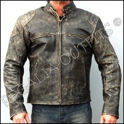 Mens Antique Vintage Black Hooligon Distressed Retro Biker Leather Jacket