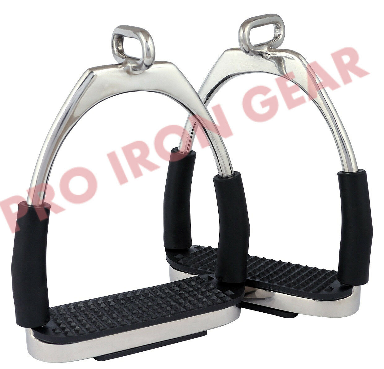 OFFSET  HORSE FLEXIBLE  SAFETY STIRRUPS (4.75'')  RIDING BENDY IRON STEEL  floor price
