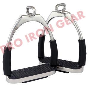 OFFSET-HORSE-FLEXIBLE-SAFETY-POLISH-STIRRUPS-4-75-RIDING-BENDY-IRON-STEEL