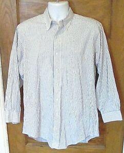 EUC-Brooks-Brothers-All-Cotton-Button-Down-Dress-Shirt-Blue-Stripe-16-2-USA-Made