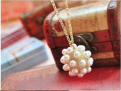 UK seller Elegant Pearl Ball Necklace chain Valentine's Day gift