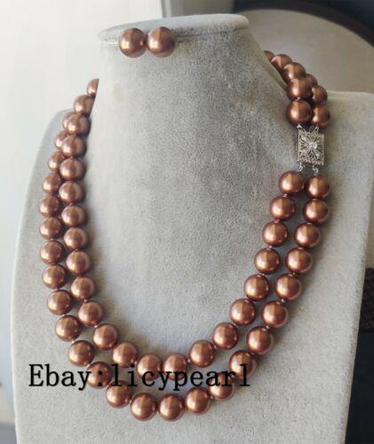 Doppelstränge 12mm braun Muschelperle Halskette Ohrringe gesetzt 46cm New