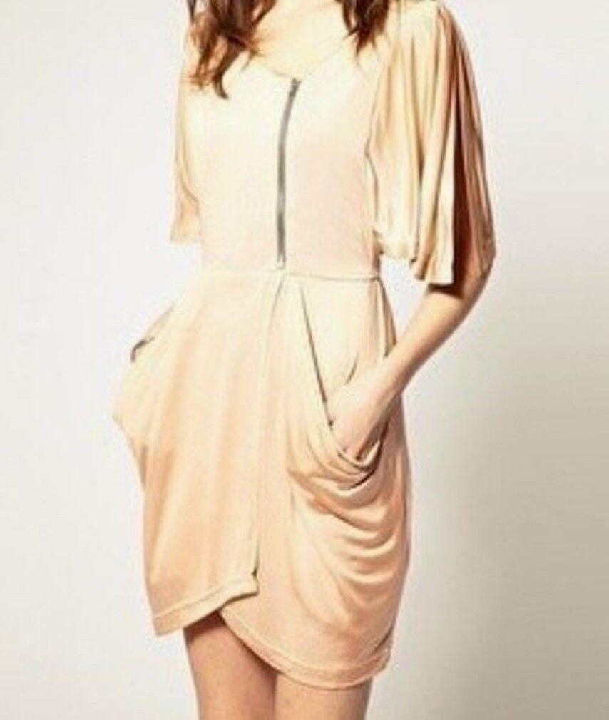 Silk Dress Nude Hype Zip Wrap Detail Misses size 0 New