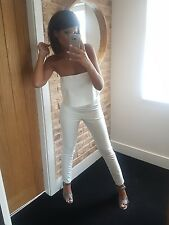 Stunning tight white fitted strapless skinny leg stretch jumpsuit! Size 10