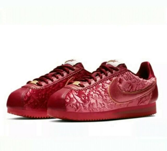on sale eba20 d9f4f Nike Classic Cortez SE Velvet Womens Av8205-600 Red Crush Gold Shoes Size 6
