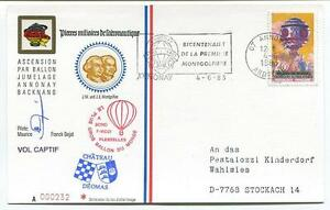 1983 Ballonpost Pro Juventute Aerostato F-wdzi Bicentenario Prima Mongolfiera
