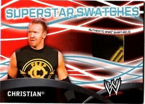 WWE-Christian-3-Color-Topps-2011-Superstar-Swatches-Event-Used-Shirt-Relic-Card