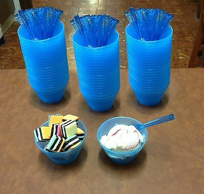 Ice Cream Cups with spoons - 210ml Blue Plastic Qty:60
