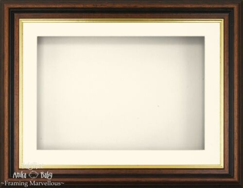"11.5x8.5/"" Mahogany effect Frame 3D Box Display Cream Mount Baby Wedding Flowers"