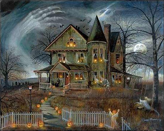 Ruane Manning  Haunted House Keilrahmen-Bild Leinwand Halloween Spukhaus