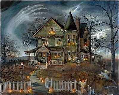 Ruane Manning: Haunted House Keilrahmen-Bild Leinwand Halloween Spukhaus