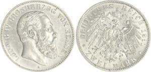 Hesse 2 Mark Silver 1891 A Hesse Ludwig (IV) . Extremely Fine
