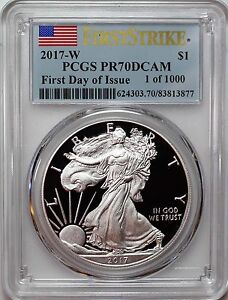 2017-W-Proof-Silver-Eagle-PCGS-PR70-DCAM-First-Day-of-Issue-1-of-1000-Flag-Label