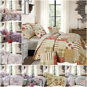 Patchwork-Acolchado-Colcha-Cobertor-Edredon-Individual-Doble-King-Size-Juego-De-Cama