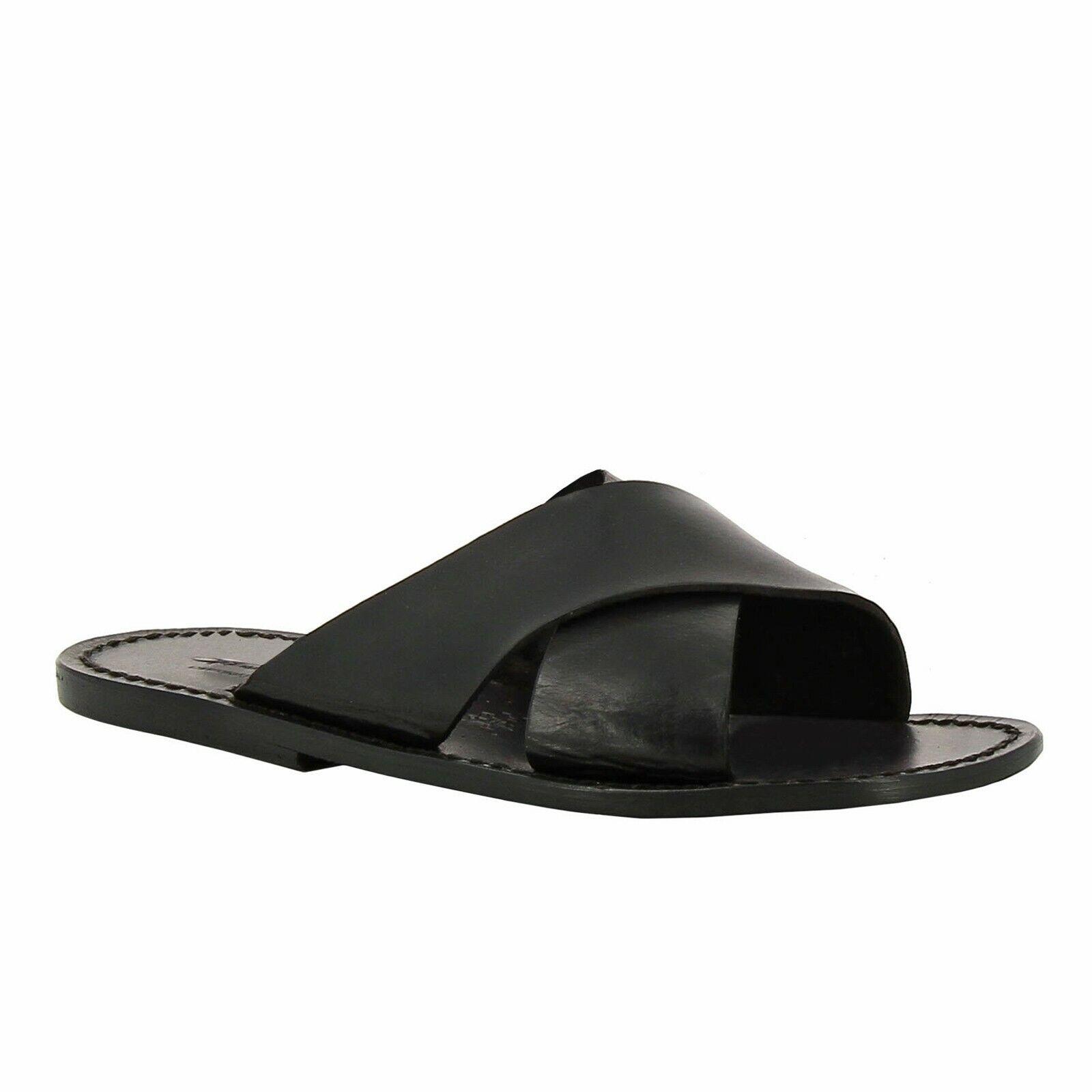 Zapatos italianos Hechos a mano para hombres Flip Flop Deslice Zapatillas en Negro de Cuero Genuino
