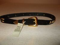 Cache Womens Size M Black Suede Leather Belt Gold Metal Embellishment