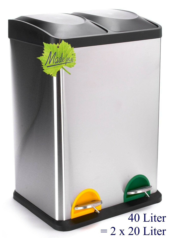 40 Liter Treteimer Mülltrennung Mülleimer Abfalleimer 2x20 L. orig. Made for us®