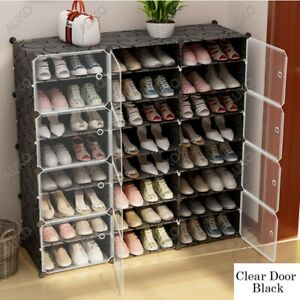 Clear-Door-Cube-DIY-Shoe-Cabinet-Rack-Storage-Portable-Stackable-Organiser-Stand