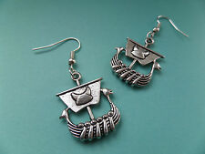 NEW! Viking Ship - Tibetan Silver Earrings - In Organza bag - Retro..
