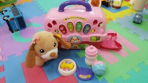 Details about Vtech Pet Carrier Care For Me Learning Puppy Carrier Toy with EVERYTHING!!!