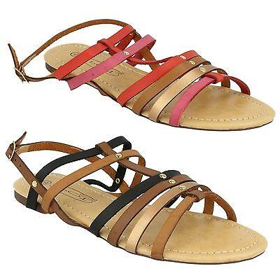 Zapatos De Mujer Ajustadas Tiras Color Panel Gladiador Sandalias verano f0699