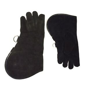 Falconry-Glove-Single-Layer-Suede-Leather-12-034-Large-Standard-Size-Jet-Black