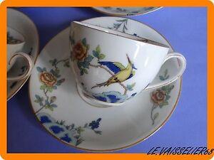 6 Tasses Cafe En Porcelaine De Limoges Manufacture Lanternier Service Indiana éLéGant Dans Le Style