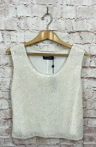Magaschoni-New-York-Cream-Off-White-Sequin-Shell-Blouse-Sleeveless-Size-10-New